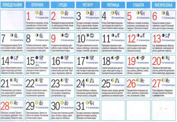 календарь работ май 2018